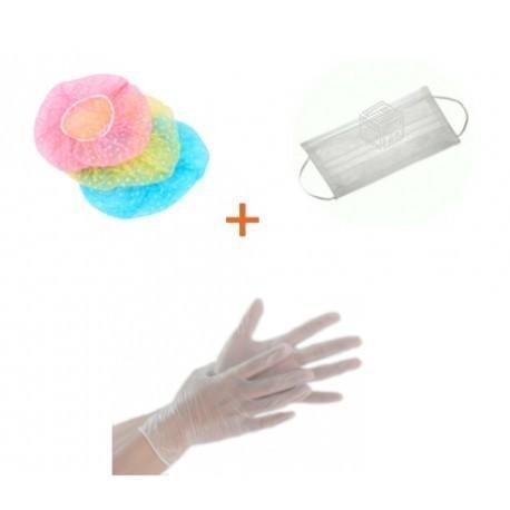 Pack gorro plástico + guantes vinilo + mascarilla