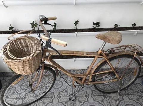 Bicicleta forrada en bambú/mimbre