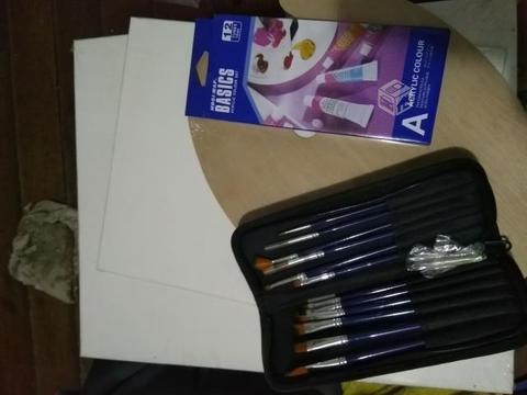 Set para pintar acrilico pinceles, paleta, telas