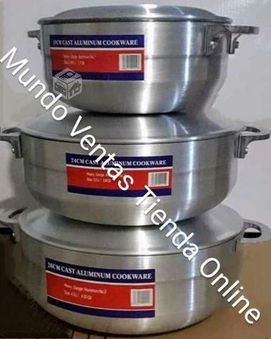 Set de 3 ollas de aluminio fundido